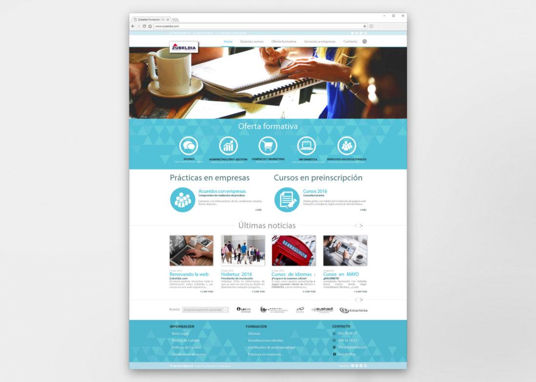 Diseño web responsive- Pantallazo - Zubeldia Formación